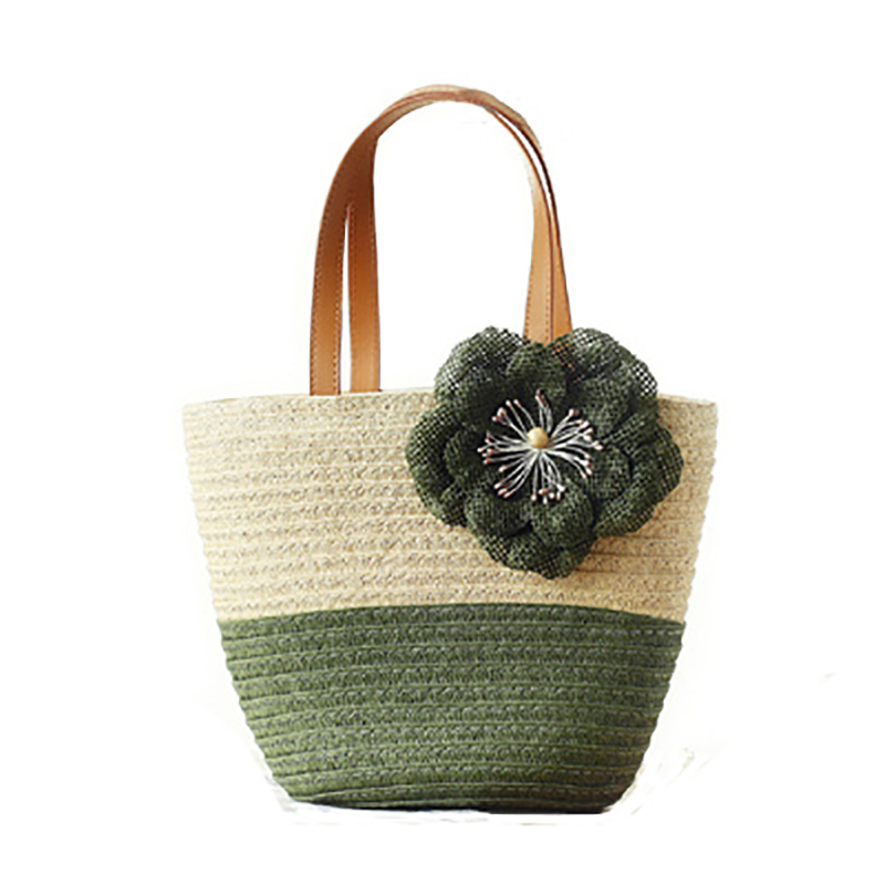 2016 Fashion Women Handbags Summer Style Flower Straw Bag Knit Straw Shoulder Bags Beach Bag For Lady Small Straw Tote Bags(China (Mainland))
