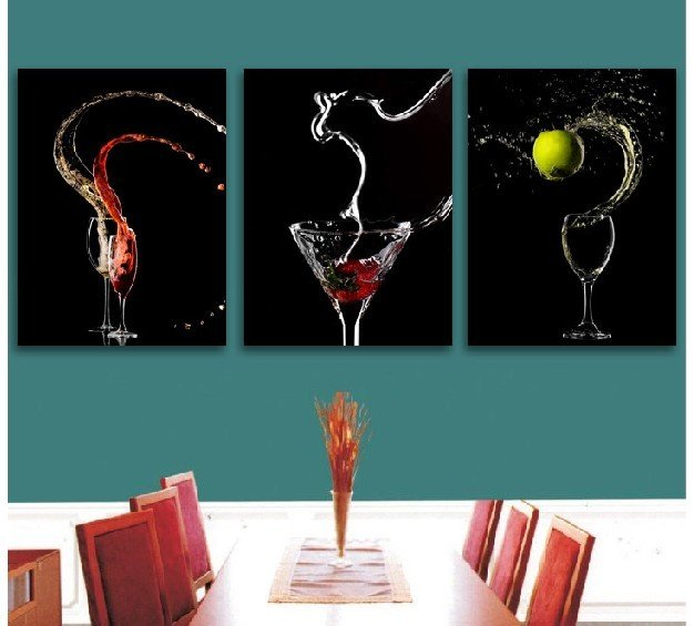 Black And White Wine Wall Decor : Modern oil painting canvas red glass wine bottle piece