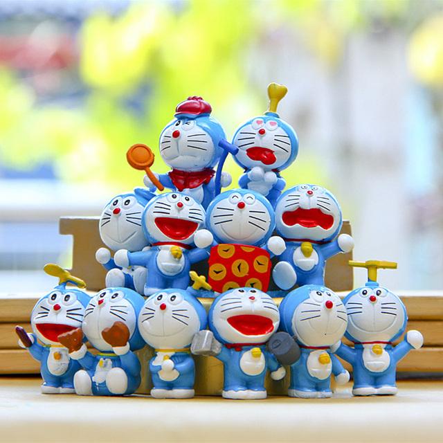 Аниме мультфильм 12 шт. милый Doraemon мини игрушки 12 шт. указан другой стиль мини Doraemon фигурку бесплатная доставка