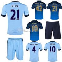 can customed!Top quality man city sky blue Soccer Jersey kit man city blue soccer uniform 100% emboidery logo 2014-2013