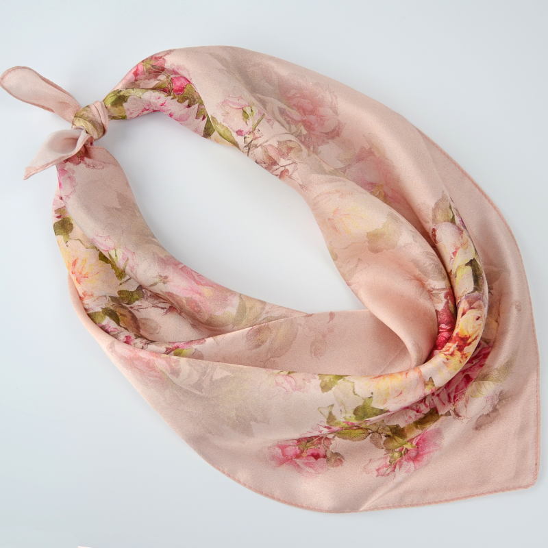 Khaki Pink Peony Square Scarves Printed 53*53cm Fashion Accessories Ladies Pure Silk Crepe Satin Silk Small Scarf For Autumn(China (Mainland))