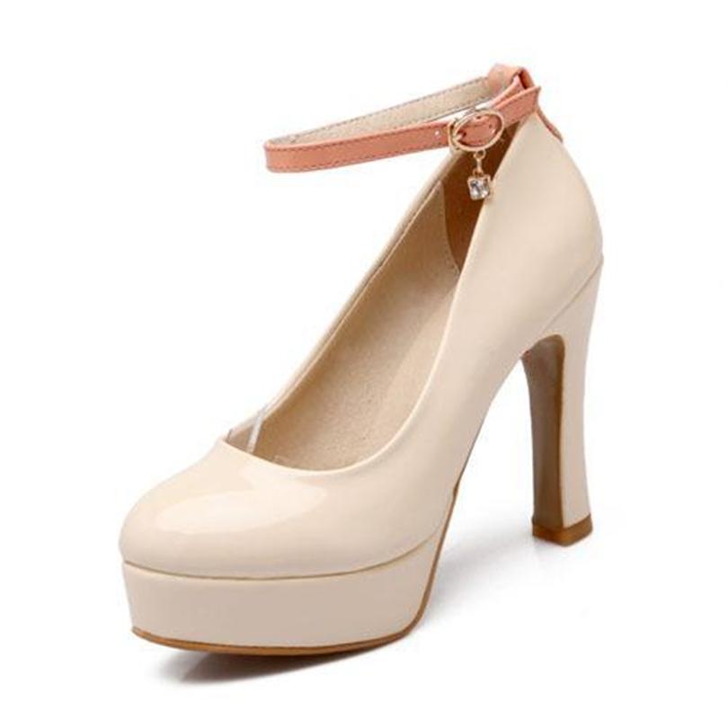 ENMAYER2015 New Fashion fine with women pumps Round toe temperament pumps shoes high quality women shoes Black / Beige / White<br><br>Aliexpress