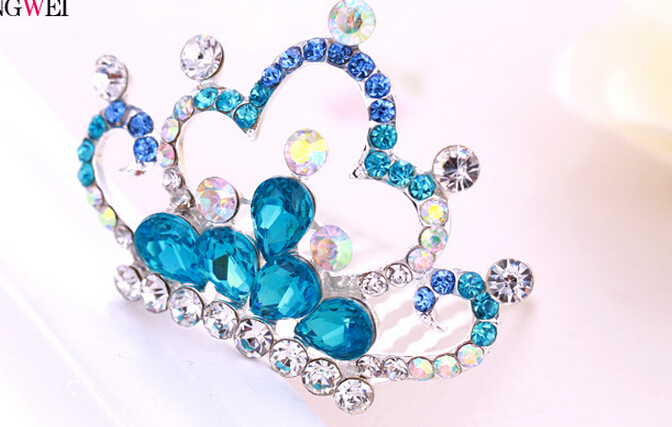 one piece silver plated metal hair combs pink/blue/white crystal crown children hair jewelry xyh142(China (Mainland))