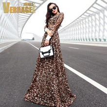 VERRAGEE New Fashion 2015 Women Summer Long Lace Dress Novelty Leopard Dresses Plus Size 10L58