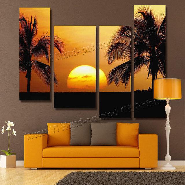 4 panel moderna seascape sunset lienzo pintado a mano - Pinturas paredes modernas ...