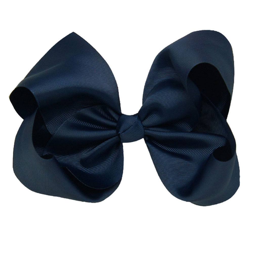 Fashion 8 inch Large Hair Bow Solid Ribbon Navy Blue Girls Boutique BIG Bows Hairpins With Alligator Clips Hair Accessories(China (Mainland))