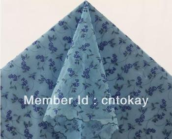 Free shipping!New sky blue African organza lace inlayed paillettes and stones,5 yards/piece,organza lace  TKL3755