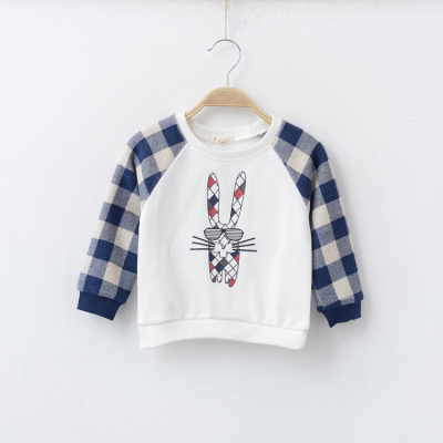 Kids Autumn Sweatshirt Rabbit Print Check Sleeve Girls Hoodies Sweatshirt Boys Hoodies Sweatshirts Kids Jumpers(China (Mainland))