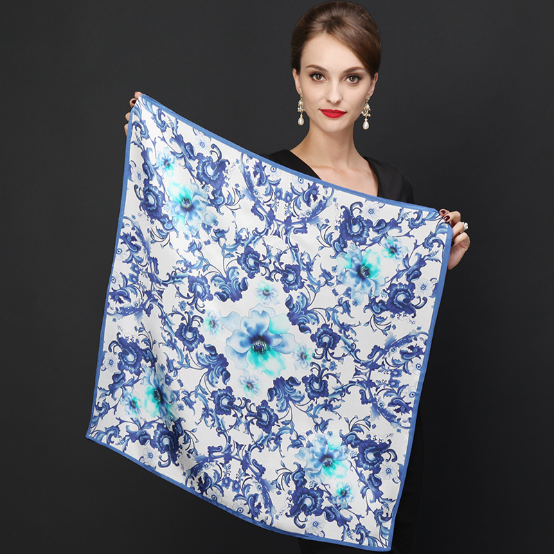Hot Sale Brand Flowers Pattern Silk Scarves Wraps For Women 2015 Fashion Natural Pure Silk Shawl Square Mulberry Silk ScarfОдежда и ак�е��уары<br><br><br>Aliexpress