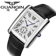 Guanqin Men Watch Square Quartz Watch 100m Waterproof Ultra-thin Man Casual Genuine Leather Strap Wristwatches Business Watches