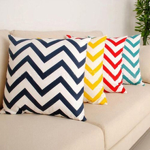Zig Wave Linen Cotton Cushion Cover Throw Pillow Case