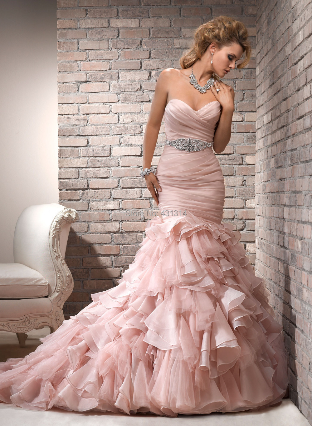 New Gorgeous Charming Mermaid Pink Organza Bridal Gown Beaded Natural Waistline Wedding Dresses Custom Size - Boutique dress's store