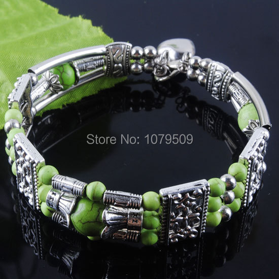 Free shipping Natural Antique Silver Metal Green Turquoise Cuff Bracelet JEWELRY VZ631(China (Mainland))