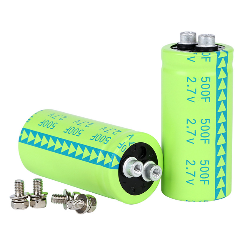 2pcs 2.7V 500F Super capacitor Fala capacitor screw type super large capacity and ultra low resistance NEW 2.7V500F(China (Mainland))