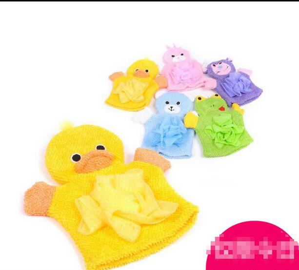 Freeshipping Cartoon bath towel glove sponge for body Washcloths bath towel children baby body glove towel(China (Mainland))