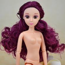 2016 Мода Обнаженная Девушка Кукла 11.4 «12 Совместное Движимое Длинные Вьющиеся Волосы в Розовый Цвет Кожи Куклы Игрушка Дети Подарков Горячая Продажа