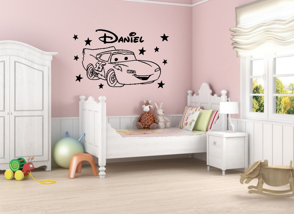 Cute Cartoon Car Star Custom Name Vinyl Wall Decal Mural Poster for Kids Nursery decor sticker Wall Stickers 80x50cm(China (Mainland))