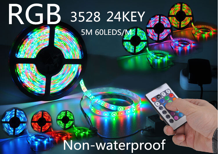 ZHAN 5m RGB led strip SMD 3528 no Waterproof 300 Led Strip Light + 24 Keys IR Remote+12V 2A power supply free shipping(China (Mainland))