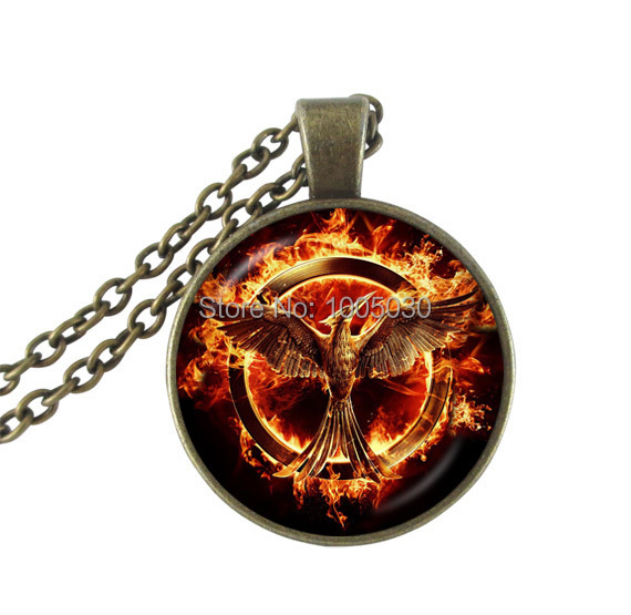 1pc The hunger games necklace vintage Laugh Birds choker necklaces art picture glass dome phoenix bird jewelry for men women(China (Mainland))