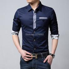 Plus Size M XXXL New 2015 Spring Brand Casual Men Shirt Long Sleeve Slim Fit Denim