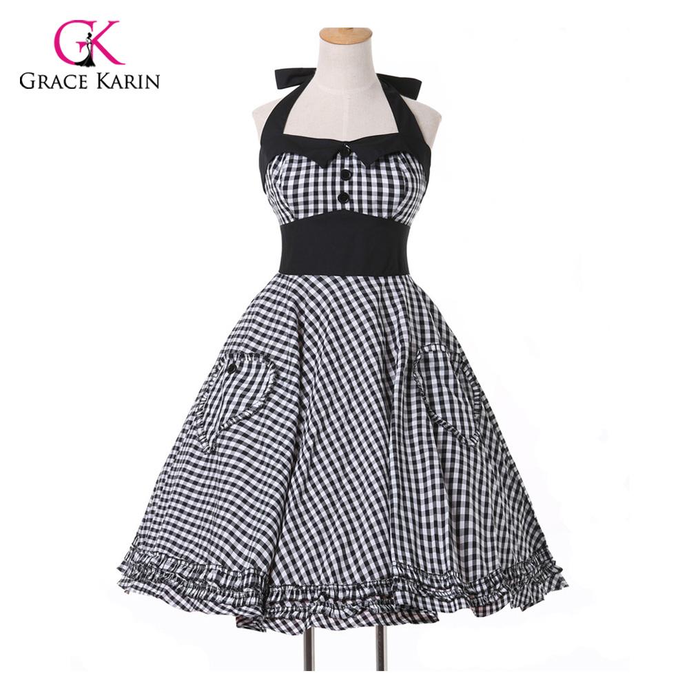 Robe De Cocktail Dress 2016 New Summer Style Plus Size Retro 50s Pin Up Plaid Rockabilly Vintage