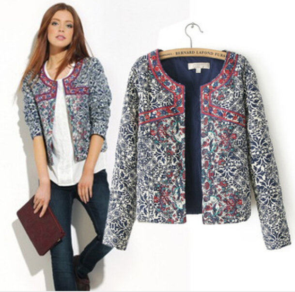 2015 New European And American Style Retro Print Blue And White Round Neck Jacket Women Blazer Women Embroidery Slim Jacket(China (Mainland))