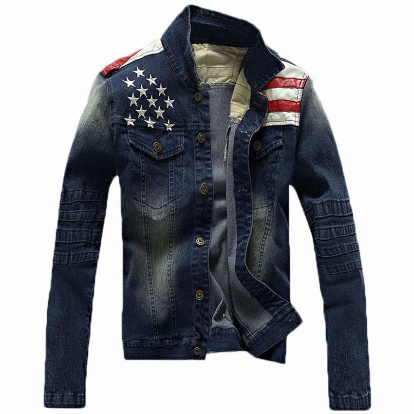 Free Shipping 2015 Denim Jacket Embroidered Logo Jeans Men