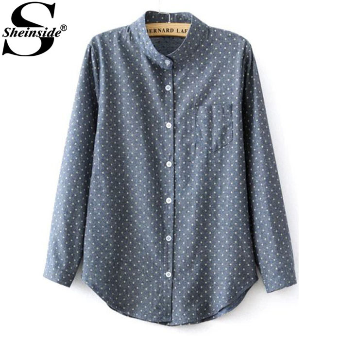Sheinside Fashion Women Streetwear 2015 Newest Long Sleeve Blue Stand Collar Polka Dot Pocket Buttons Cotton Blends Blouse(China (Mainland))