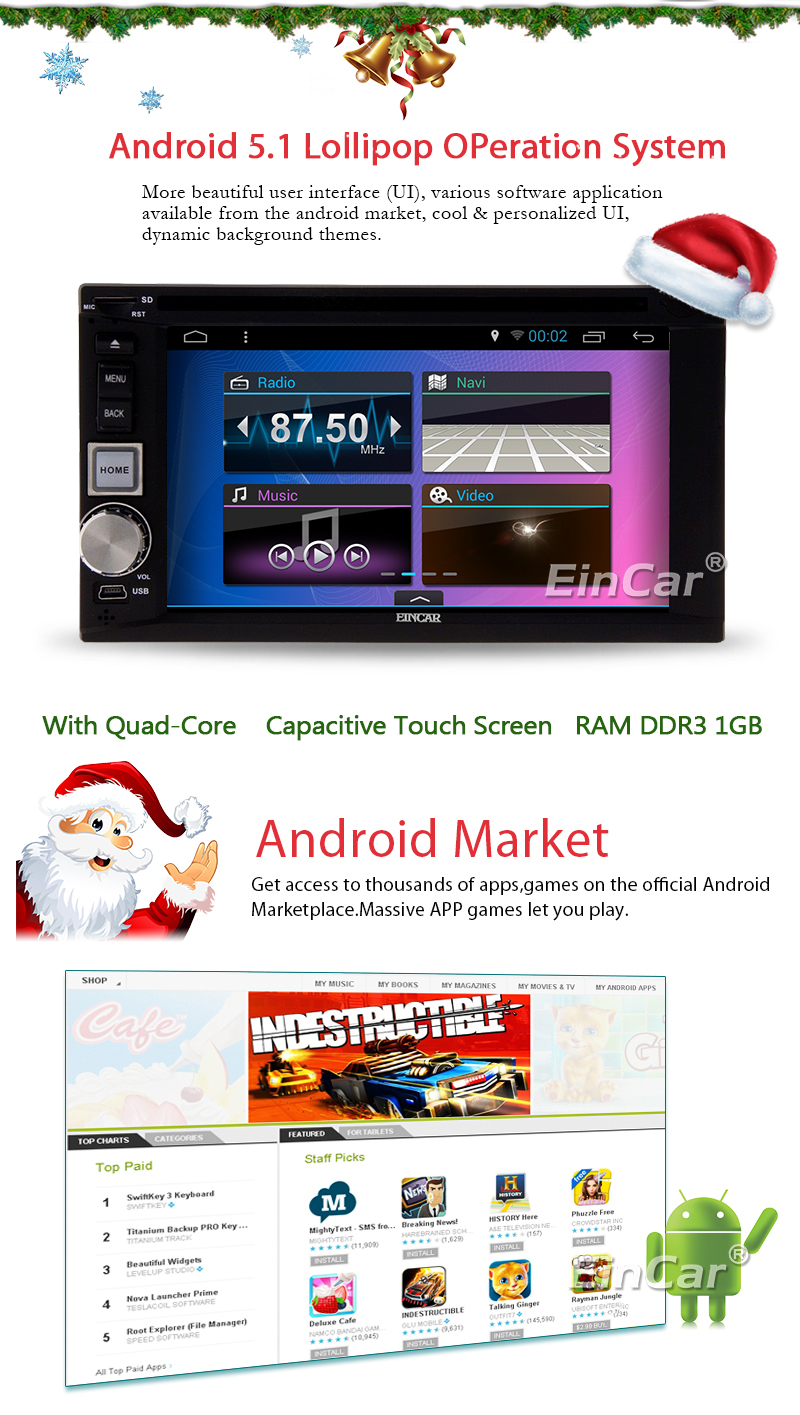 Android 5.1 Car DVD Player Touch Screen 2 Din Car Stereo Radio In Dash GPS Navigation Head Unit Multimedia WiFi/1080P/Bluetooth