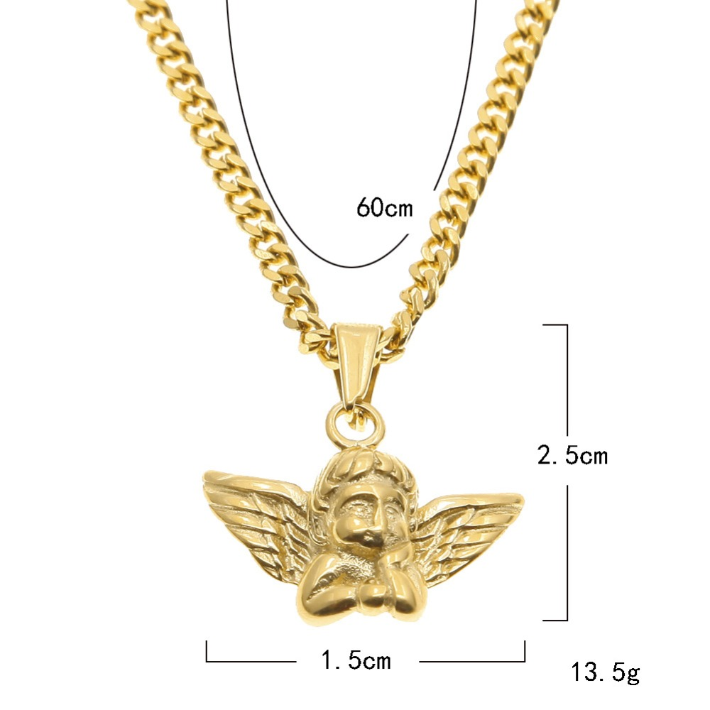 Luxury Cherub Micro Angel Wings Hip Hop Pendants Dj Bar Jewelry Gift Men Women Gold Plated Anium Steel Necklaces Chains