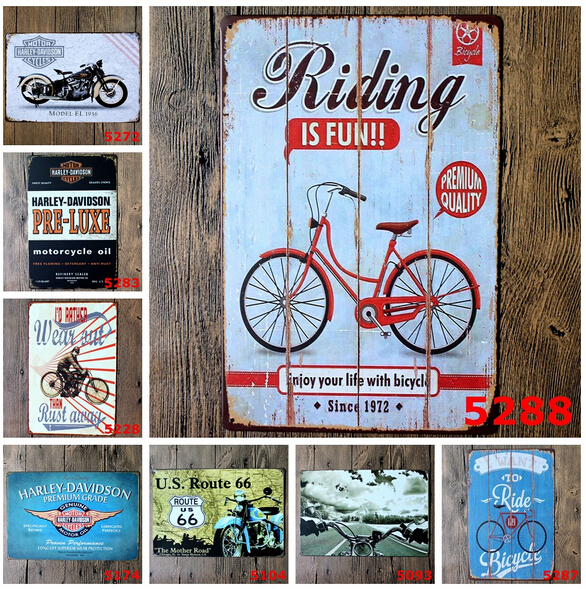 Vintage metal signs Bicycle and moto 20x30cm tin sign decoration for Bar pub home classical 8 types good memories free shipping(China (Mainland))