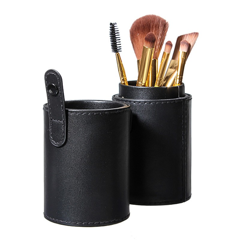 Por 1Pc Travel Black Leather Empty Holder Makeup Brush Artist Bag Match Your Own Brushes Make Up Tools(China (Mainland))
