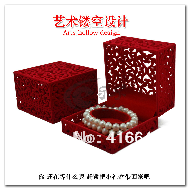 Free shipping Wholesale 10.2*10.2*6.8cm Velvet Jewelry Ring/ Earring Gift Packaging Display Box Case watch cutout bracelet box<br><br>Aliexpress
