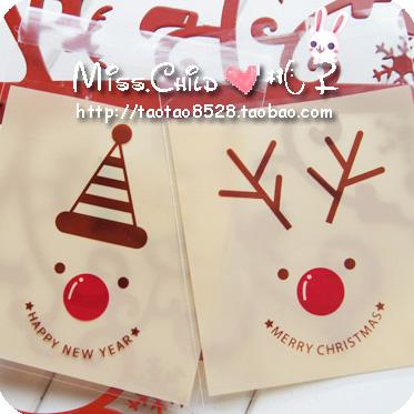 Christmas series christmas elk big self-adhesive bread packing bags diy gift packaging bag candy bag 10*11cm+3cm(China (Mainland))