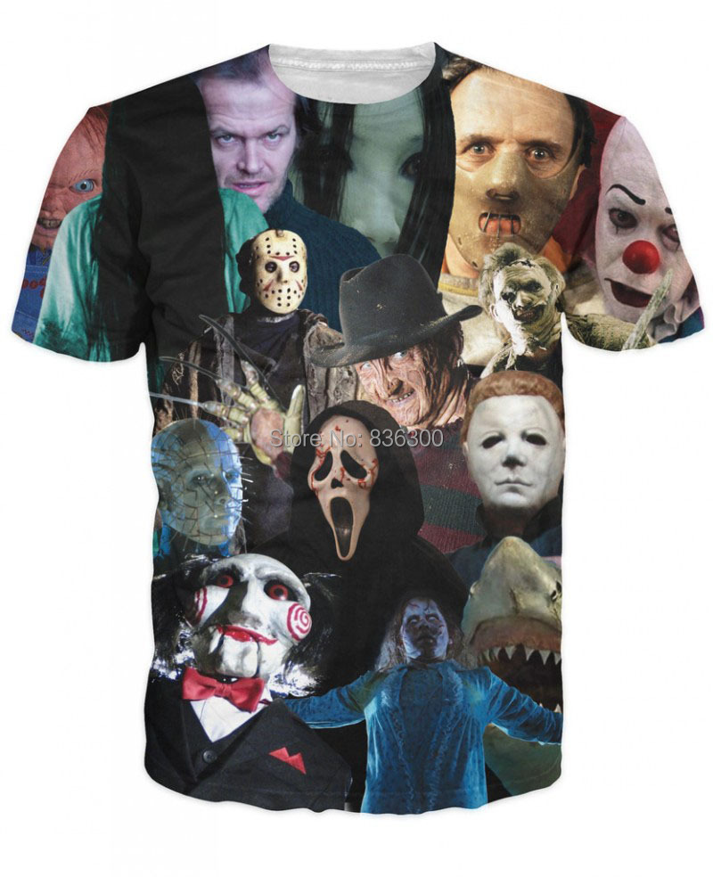 LES CADÔS LES CADÔS ! Bas-prix-2015-nouvelle-Harajuku-Creative-motif-mode-t-shirt-hommes-femmes-film-d-horreur-tueur