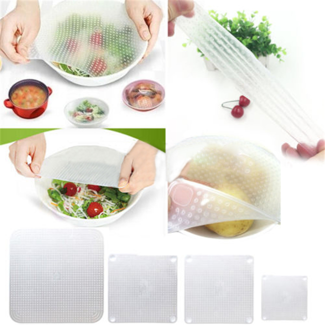 HOT! 2015 sale 4pcs/set Stretch Silicone Reusable Multifunctional Wrap Seal Cover Cling Film Kitchen Food Fresh Keep Free N655(China (Mainland))