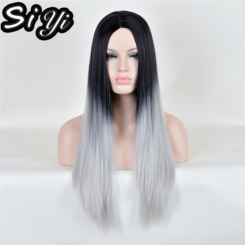 28Inch Grey Ombre Long Straight Perruque синтетический Women парик Dark Roots Cheap Термоустойчивый Pastel Ladies Wigs Natural Hair
