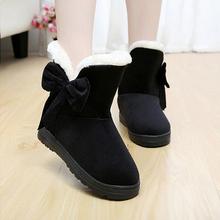 Invierno de las mujeres sólidas botas de nieve de moda femenina botines con piel caliente mujer bota zapatos casuales botas femininas SOT905(China (Mainland))