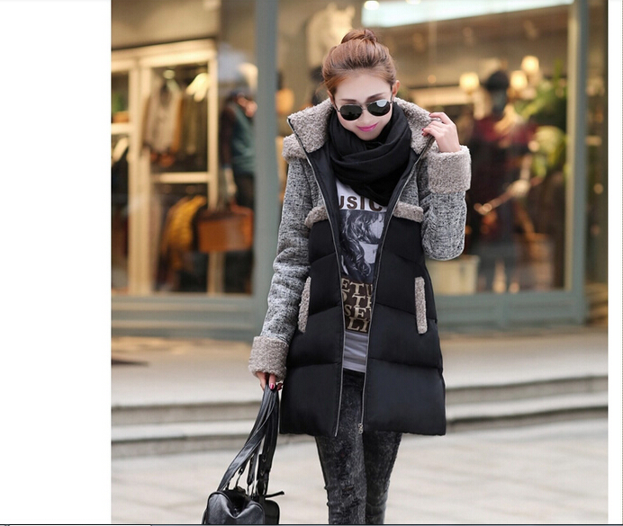 2015 new arrive pule size autumn winter women wide-waisted coat female collar jacket thick padded outwear Hooded black - qing feng store