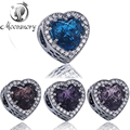 4 Colors Abstract 925 Sterling Silver Charm Bead With Royal Crystal And CZ Fit For Original