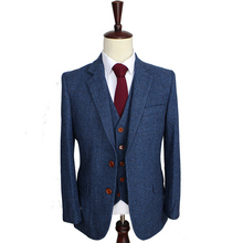 Wool Blue Herringbone Retro gentleman style custom made Men's suits tailor suit Blazer suits for men 3 piece (Jacket+Pants+Vest)(China (Mainland))