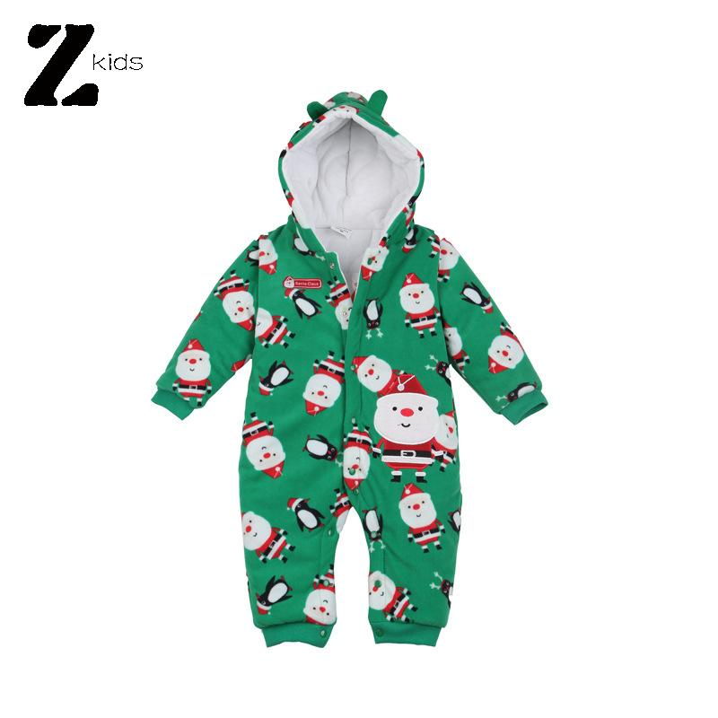 Autumn Winter 2016 Christmas Baby Boy Girl Romper Kids Clothes Costume Cotton Print Soft Hooded Outfit Newborn Baby Rompers(China (Mainland))