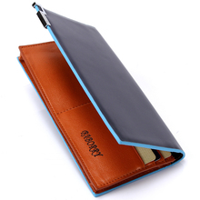 with zipper new 2015 men wallets famous brand  long thin wallet male money purses  with Flip up ID Window   long  korean walet