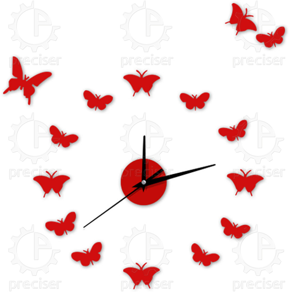 12'' Black Digital Diy 3D Wall Clock Acrylic Antique Europe Decor Unique Wall Clock Contemporary Flower Butterfly Wall Clocks(China (Mainland))