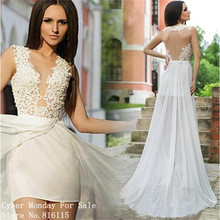 New Fashion Lace Chiffon Wedding Dresses Charming Illusion Deep V-Neck Backless Wedding Dress with Removable Skirt Bridal Gowns(China (Mainland))