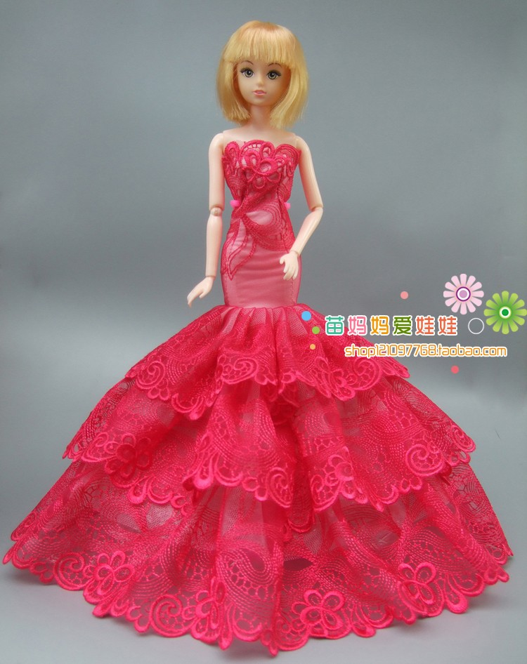Free delivery New arrival three Layer Full round crimson Lace marriage ceremony costume for barbie doll woman toys reward