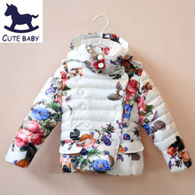 New 2015 Girls winter outerwear Kids coat children's Thick coat Printed jackets for baby girls children's clothing for 2-10Y