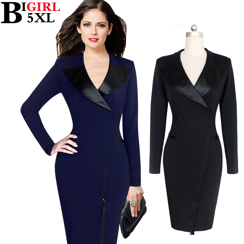 Black Formal Ladies Office Dress With Long Sleeves Work Wear Winter