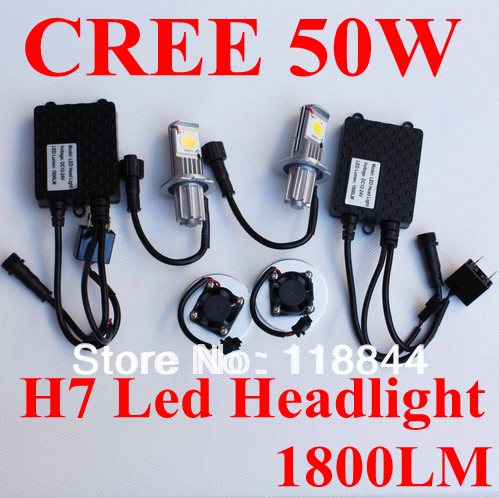 Free shipping 50w h7 car fog led big headlight,new CREE CXA1512 chips ,50W H7 led headlamp,1800LM h7 LED Headlight
