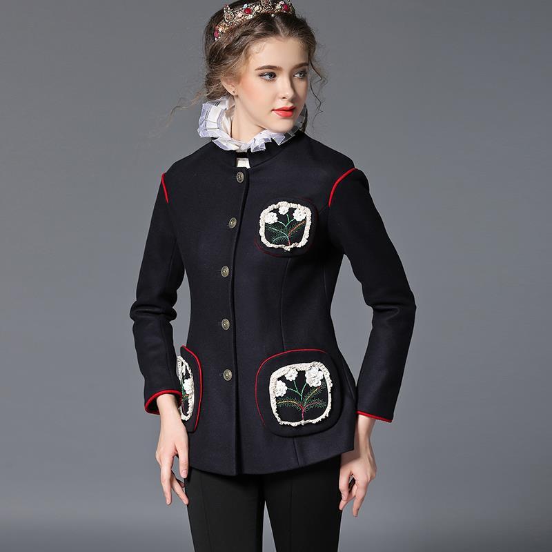 Plus Size 5XL Women Spring Blazer 2016 New European Fashion Autumn Mandarin Collar Woollen Wasit Slim Vintage Ladies - Estilo Femme store
